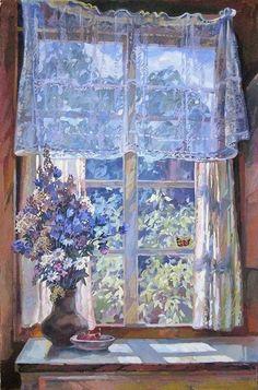 From Russian artist Zhivotkov Vladimir Vladimirovich The Window Art Inspo, Painting Inspiration, Bel Art, Art Watercolor, Art Et Illustration, Illustrations, Classical Art, Renaissance Art, Pretty Art