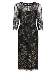 Per Una Speziale Floral Lace Embellished Sparkle Shift Dress