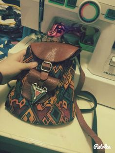 etnic hippie geometric multicolor backpack      handmade by me