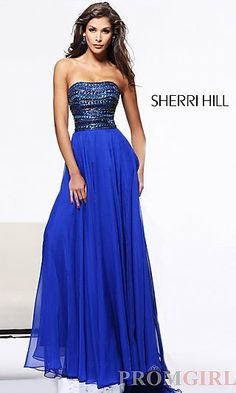 Sherri Hill Strapless Beaded Evening Gown 1539 at PromGirl.com