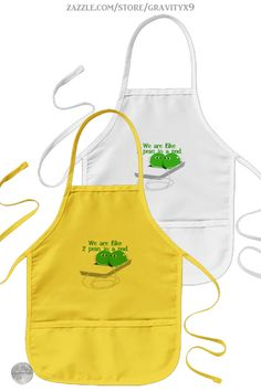 * We are Like Two Peas in a Pod Kids Apron by #Gravityx9 at Zazzle * Three colors to choose from. * Cute peas in an ipod wearing earbuds *  Sizes for adults and children. * Adjustable neck strap for good fit. * Fun in the Kitchen * cooking accessories * kitchen accessories * cooking supplies * kitchen supplies * cooking class supplies * sous chef uniform * gift for chef * kitchen gifts * cooking class * #apronaddiction #apron #kitchen #cooking #inthekitchen #peasinapod #ipod #music #peas…