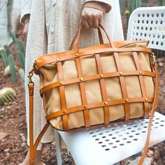 Handmade Hollow Leather Beach Tote Bag | Annie Jewel Leather Crossbody, Leather Backpack, Work Handbag, Tan Leather, Leather Totes, Beach Tote Bags, Big Bags, Zipper Bags, Vegetable Tanned Leather