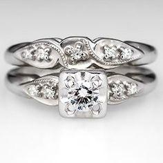 Vintage Diamond Engagement Ring Wedding Set 14K White Gold