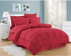 db76d150fb +Hotel by K-bros Co Plaza Home 8 Piece Bed In A Bag Hotel Dobby Embossed  Comforter Sheet Bed Skirt Sham Set
