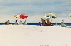 Edward Hopper (1882 — 1967, USA) Gloucester Beach, Bass Rocks. 1924  watercolor and pencil on paper.  11¾ x 18 in. (29.9 x 45.7 cm.)
