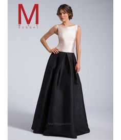 MacDuggal Nude  Black Boat Neck Ball Gown 2016