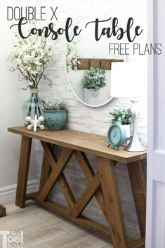 Woodworking Furniture Kids Double X Console Table Plans - Her Tool Belt.Woodworking Furniture Kids Double X Console Table Plans - Her Tool Belt Diy Furniture Projects, Diy Wood Projects, Home Projects, Best Diy Projects, Diy Furniture Decor, Furniture Design, Simple Projects, Furniture Websites, Furniture Storage