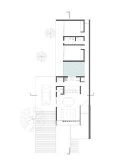 Image 3 of 36 from gallery of Catalinas Houses / Agustín Lozada. Photograph by Gonzalo Viramonte Narrow House Plans, Modern House Plans, House Floor Plans, Architecture Plan, Interior Architecture, Plan Ville, Casa Patio, Villa Plan, Long House