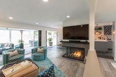 Christina & Ant Anstead's New Home | Christina on the Coast | HGTV Coastal Style, Coastal Living, Loft Spaces, Small Spaces, Cozy Living Spaces, Living Room, Floor Pillows And Poufs, Large Sectional Sofa, Mid Century Modern Table