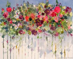 """Contemporary Painting - """"Hollyhocks Over the Fence"""" (Original Art from Kay Smith) Watercolour Painting, Watercolor Flowers, Painting & Drawing, Fence Painting, Watercolors, Painting Abstract, Decoupage, Hollyhock, Painting Inspiration"""