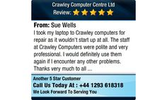 I took my laptop to Crawley computers for repair as it wouldn't start up at all...
