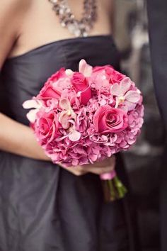 110 best bridesmaids bouquets images on pinterest in 2018 wedding black bridesmaids dress with pink bouquet mightylinksfo