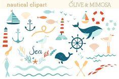 Nautical Sea vector clip art set by Olive & Mimosa on Sea Clipart, Nautical Clipart, Mermaid Clipart, Digital Illustration, Graphic Illustration, Illustrations, Affinity Photo, Teaching Supplies, Create Invitations