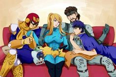 SSBB - Captain Falco, Samus, Snake, Ike, and Pikachu