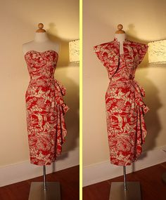 THE BEST 1940's Style Hawaiian Strapless Cotton by butchwaxvintage