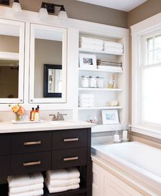 Good paint color for bathrooms, love the white trim with it too