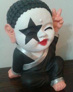 Buda Kiss Rock Kiss Band, Buddha, Decoupage, Halloween Face Makeup, Clay, Rock, Funny, Ideas, Handmade Dolls