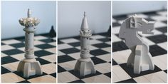 White Queen : White Bishop : White Knight | LEGO Chess Set | Image : Centuri