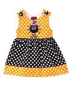 Orange & Black Polka Dot Spider Jumper - Infant, Toddler & Girls