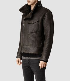 Mens Drayford Shearling Leather Jacket (Anthracite) | ALLSAINTS.com
