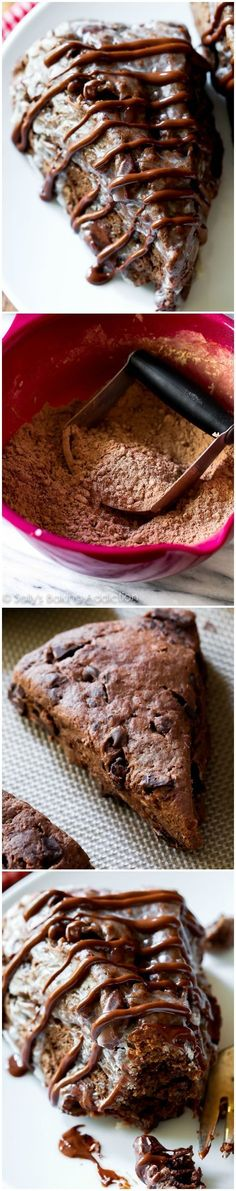 Triple Chocolate Scones-- these crumbly, yet moist triple chocolate scones taste like warm brownies from the oven!!