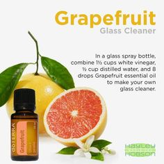 Have you ever wanted to make your own glass cleaner? Ok, probably not. But you should! Here's a neat tip to make your own glass cleaner adding the Grapefruit essential oil. Works great, and better yet it smells great too! www.hayleyhobson.com