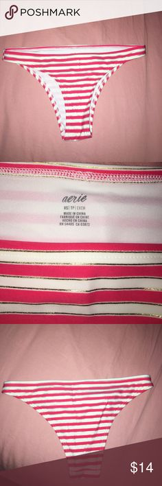 Aerie striped bikini bottom Never worn. Clean and no flaws. Pink and gold stripes aerie Swim Bikinis
