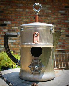 Steam punk Birdhouse Bird house Repurposed Upcycled Aluminum Vintage Perculator Coffee Pot with Recycled Found Items OOAK via Etsy Bird House Feeder, Bird Feeder, Recycling, Bird Cages, Yard Art, Bird Feathers, Beautiful Birds, Bird Houses, Repurposed