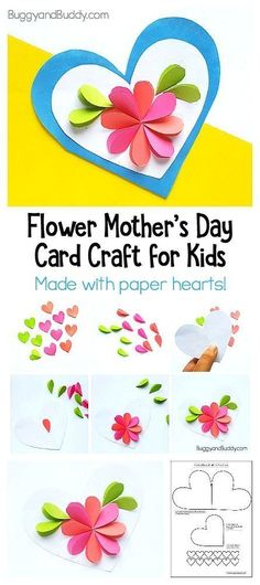 DIY Mother's Day Card Craft for Kid: Kids homemade Mother's Day card using just paper hearts. Great Spring Craft.