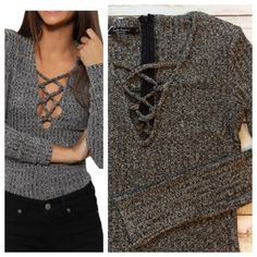 """Lace up V-neck top So trendy and so so cute! Knit fitted top in heather grey, back zip for perfect fit, long sleeve. Cotton/poly blend. Brand new, never worn. I purchased as a size L, fits very snug, probably better for a M, please refer to Measurements when laying flat: 14.5"""" chest and 22"""" total length. Tops"""