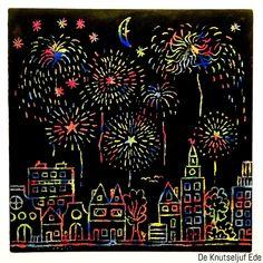 Oud en Nieuw Vuurwerk met waskrijtjes - Gelukkig Nieuwjaar! | vuurwerk | knutselen | waskrijtjes | zwarte verf | wascokrijtjes | wasco krijt | oud en nieuw | oudjaarsavond Fireworks Craft For Kids, Fireworks Art, 4th Of July Fireworks, Preschool Art, Craft Activities For Kids, Crafts For Kids, Drawing For Kids, Art For Kids, Kratz Kunst