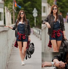Les Eclaires Leather Jacket, Les Eclaires Shirt, Oasap Romper, Chicwish Backpack, Mango Trainers, Ray Ban Sun Glasses, Soufeel Bracelet