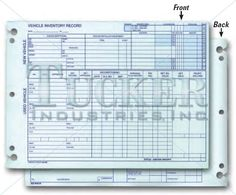 """Vehicle Inventory Records - 2 Sided Form-A-532. Prints in Blue Ink. Vehicle washout records. Keyhole punched for binder storage. A convenient and organized way to keep vehicle information. • 7-1/2"""" x 10-3/8"""" • 28# Green tint • Packaged 50 per pack"""
