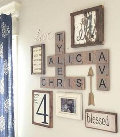 Spell out kids names and use decoration in the hall or living room maybe...?