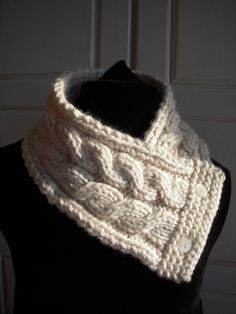 Hand Knit Cream Scarflette, Knitted Ivory Cowl Scarf  Neck Warmer Chunky, Classic, Winter White Cabled Neck Warmer, Button Neck Wrap. $41.99, via Etsy.