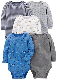 Simple Joys by Carter's Baby Boys 5-Pack Long-Sleeve Bodysuit, Blue/Grey, 3-6 Months. For price & product info go to: https://all4babies.co.business/simple-joys-by-carters-baby-boys-5-pack-long-sleeve-bodysuit-bluegrey-3-6-months/