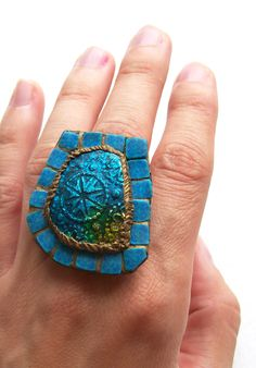 Blue statement ring Sunshine in a Moroccan Bath irregular mosaic ring faux glass ultramarine oriental bronze Egyptian unique cocktail ring  HunkiiDorii
