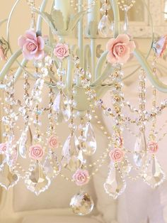 Pink rose chandelier. So feminine!