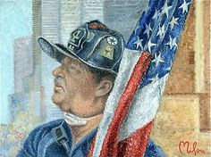 "Inspired from Newsweek Magazine reference  the week of  Sept 11th 2001, ''Fireman's Faith"" is inspired by several photos that I found of New York City Firefighter Jerry Reilly. Even today some 11 years later we still find it hard to place words of  equivalence  towards the sacrifice that these brave men and woman sacrificed that day and for our country's freedom."