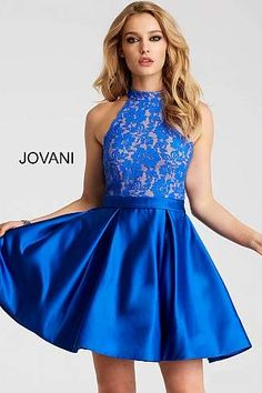 Royal Lace High Neck Bodice Fit and Flare Short Dress 55300
