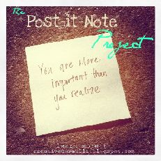 """Post-It-Note Project  """"Be the change you wish to see in the world.""""  ~ Mahatma Gandhi    These words resonate with me....they drive me toDO better andBE better  I am now a woman on a mission, and I need your help.  What if....you were out somewhere and you found a note that said this....    YOU ARE AMAZING!!!  Or maybe this...  NEVER GIVE UP! YOU CAN DO IT!    And there will be a day when we all need to hear this.....    YOUR BEAUTIFUL, JUST THE WAY YOU ARE...    Are you ready to ..."""