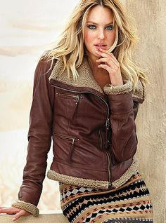 TOPSHOP Celebrity Aviator Leather Shearling Sheepskin Biker Jacket