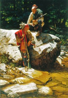 At The Rivers Edge ~ by Robert Griffing Native American Paintings, Indian Paintings, American Indian Art, American History, American Indians, Woodland Indians, Native American Warrior, Into The West, Indian Pictures