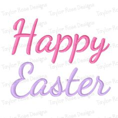 Happy Easter Machine Embroidery Design 3x3 by TaylorRoseDesigns
