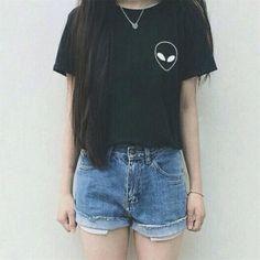 Alien Print Cotton Casual Hipster Shirt Top Tees T-shirt