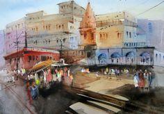 Varanasi ghats - Watercolor painting