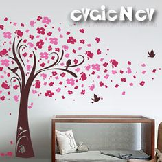 Wall Decals - Cherry Blossom Tree Wall Decal with Birds - Wall Stickers - TRCB020R on Etsy, 644,07 kr