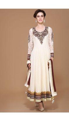 Cream Polyester Anarkali  Suit - 1572