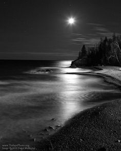 """""""Moon over Lake Superior"""" by David McKinley"""