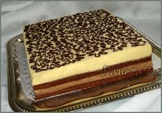 Prajitura cu mousse de ciocolata, piersici si fructul pasiunii Romanian Desserts, Romanian Food, Sweets Recipes, Cake Recipes, French Pastries, Sweet Cakes, Something Sweet, Bakery, Sweet Treats
